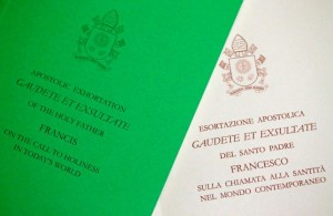 Pope Francis document, known as an apostolic exhortation, entitled Gaudete et exsultate (Rejoice and be glad), is seen in this picture illustration taken at the Vatican